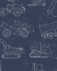 Construction Blueprint Wallpaper Navy by
