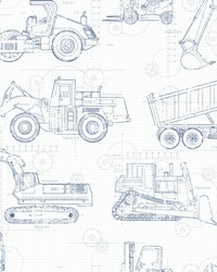 Construction Blueprint Wallpaper Navy On White by