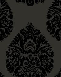 Teardrop Damask Wallpaper Black by
