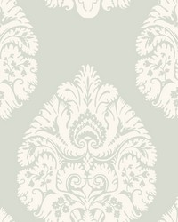 Teardrop Damask Wallpaper Light Grey by
