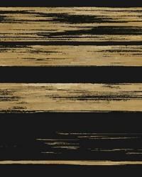 Horizontal Dry Brush Wallpaper Black Gold by