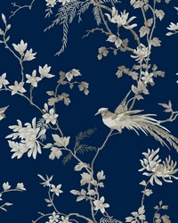 Bird And Blossom Chinoserie Wallpaper Blue by
