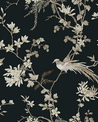 Bird And Blossom Chinoserie Wallpaper Black by