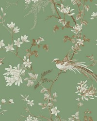 Bird And Blossom Chinoserie Wallpaper Green by