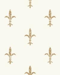 Fleur De Lis Wallpaper White Gold by