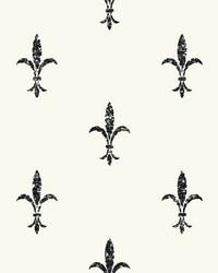Fleur De Lis Wallpaper White Black by