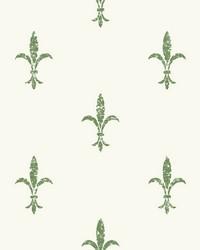 Fleur De Lis Wallpaper White Green by