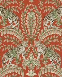 Jungle Leopard Wallpaper Orange by