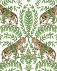 Jungle Leopard Wallpaper White Green by