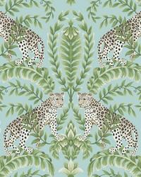 Jungle Leopard Wallpaper Teal by