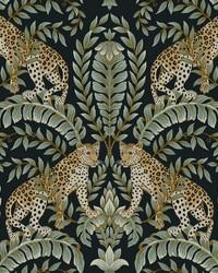 Jungle Leopard Wallpaper Black Green by