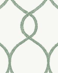 Laurel Leaf Ogee Wallpaper Green by