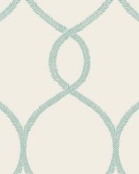 Laurel Leaf Ogee Wallpaper Teal by