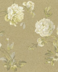 Whitworth Peony Wallpaper Browns Greens by