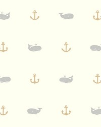 Whale Of A Tale Wallpaper Blacks Beiges by