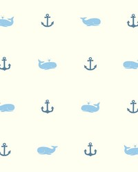 Whale Of A Tale Wallpaper Blues White Off Whites by