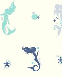 Mermaids Wallpaper Blues White Off Whites by