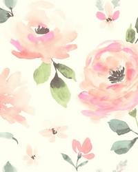 Watercolor Blooms Wallpaper Pinks Oranges Greens by