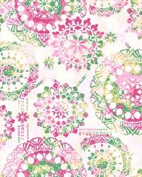Bohemian Wallpaper Pinks Greens Yellows by