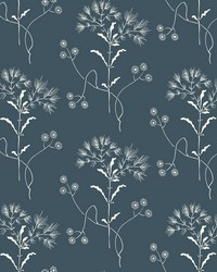 Wildflower  White on Navy by