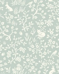 Fox & Hare Wallpaper Green by