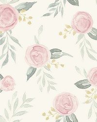 Watercolor Roses Wallpaper Pink by