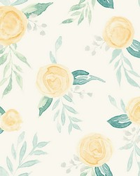 Watercolor Roses Wallpaper Yellow by