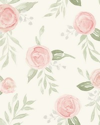 Watercolor Roses Wallpaper Coral by