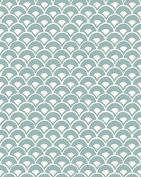 Stacked Scallops Wallpaper Blue by