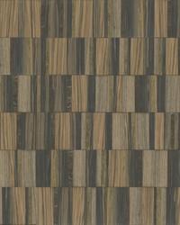 Gilded Wood Tile Wallpaper Black Gold by