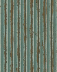 Weathered Metal Wallpaper Teal Gold by