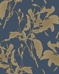 Botanical Silhouette Wallpaper Navy Gold by