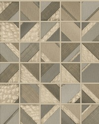 Patchwork Tile Wallpaper Light Brown by