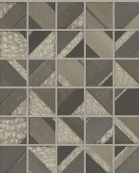 Patchwork Tile Wallpaper Dark Brown by