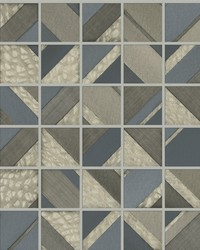 Patchwork Tile Wallpaper Blue Warm Grey by