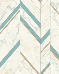 Marble Chevron Wallpaper Turquoise Gold by