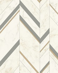 Marble Chevron Wallpaper Grey Gold by