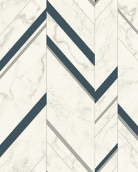 Marble Chevron Wallpaper Navy Silver by