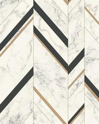 Marble Chevron Wallpaper Black Gold by