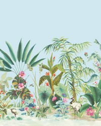 Tropical Panoramic Mural Blue by