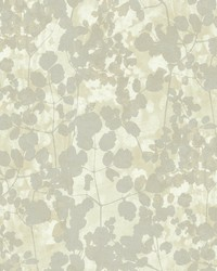 Pressed Leaves Wallpaper Silver by