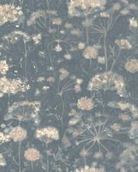 Botanical Fantasy Wallpaper Dark Blue by