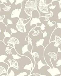 Gingko Trail Wallpaper Silver by