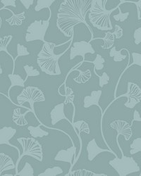 Gingko Trail Wallpaper Blue by