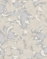 Acanthus Toss Wallpaper Gray Beige by