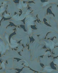 Acanthus Toss Wallpaper Dark Blue by
