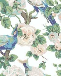 Garden Plume Wallpaper White Royal Blue by