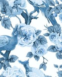 Garden Plume Wallpaper White Blue by
