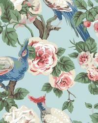 Garden Plume Wallpaper Spa Blue Navy Pink by