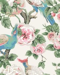 Garden Plume Wallpaper Cream Light Blue Pink by